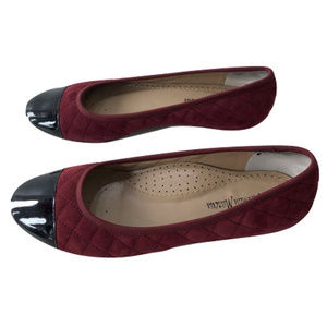 Neiman Marcus Quilted Burgandy Flats, Size 8